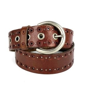 FOSSIL Brown Genuine Leather Studded Fashion Belt